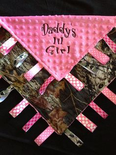 Pink Camouflage Baby Girl Congrats | Pink Camo Baby Tag Security Blanket for Daddy's by Tanniesplace, $27 ...