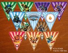 Skylander Birthday Flags - DIY Printable - Party Flags