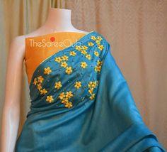 Saree Embroidery Design, Hand Embroidery Dress, Silk Kurti Designs, Saree Blouse Designs, Saris, Saree Painting, Saree Jewellery, Silk Saree Kanchipuram, Sari Design