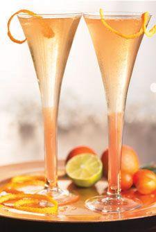 Champagne Cocktail: 3 oz chilled champagne, 1/2 oz cognac, 2 dashes angostura bitters, 1 sugar cube, maraschino cherry, lemon twist.