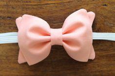 Baby Girl, Toddler, Girls Fabric Bow Headband or Hair Clip - Peach $9.00