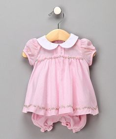 Loving this Pink Gingham Peter Pan Dress & Bloomers - Infant on #zulily! #zulilyfinds