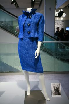 This Givenchy silk suit, with matching hat,is on display in Montreal. This photo, however, was taken at Sotheby's exhibit. It was worn on Monaco National Day 1962. The hat is not in this photo