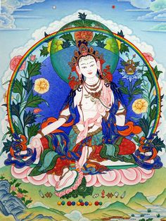 """ARYA TARA LHAMO ODZER CHENMA: """"Homage, Mother, endowed with the power to pacify by the array of the three natural states, destroying the hosts of evil spirits, yakshas and the walking dead, TURE, most excellent Mother."""""""
