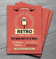 Retro Music Club Party Flyer More _ another great flyer design idea for my own projects, plus posters and flyers are always 'in use' so we constantly need fresh ideas that will inspire our designs . Graphisches Design, Retro Design, Layout Design, Design Ideas, Flat Design, Cafeteria Menu, Invitation Flyer, Flyer Design Inspiration, Party Poster