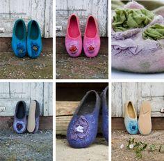 Felt wool women slippers Turquoise Green wool от BureBureSlippers