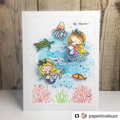 "6 Likes, 1 Comments - Flora and Fauna (@florafaunaclear) on Instagram: ""Mermaid love! #florafaunaclear #underthesea #handmadecards #cardoftheday #letscreate #clearstamps…"""
