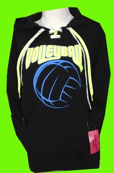 This black NEON Volleyball lace-up sweatshirt sweatshirt is a 9.5 oz. premium fleece hoodie is 80% cotton/ 20% poly is complete with a hidden cellphone pocket inside the pouch front pocket.