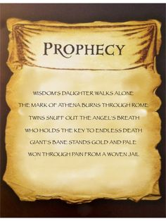 Mark of Athena prophecy I am currently reading this and hoping that Nico di Angelo dose not get killed, o gods, that would be awful!!