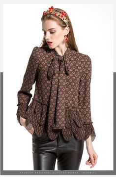 e21a6170f8b Vintage Women Blouses 2018 Full Flare Sleeve Fashion Bow Collar High  Quality Heart Print Early Spring Pleated Shirt