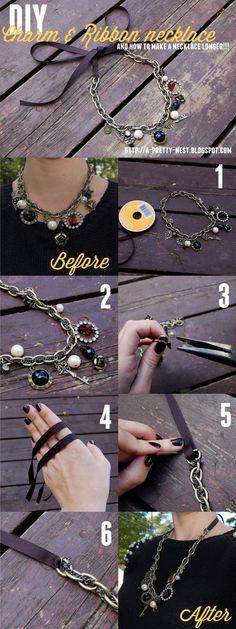 A Pretty Nest: DIY - Charm & Ribbon necklace