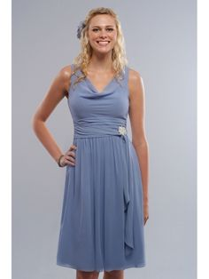 Simple Elegant Chiffon Cowl Neckline A-line Short Bridesmaid Dress