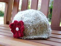 Girls knitted hat with red knit flower by lovemyknits on Etsy, $12.00