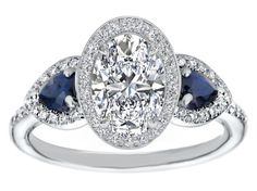 Oval Diamond Halo Engagement Ring Pear Shape Blue Sapphire Side Stones in 14K White Gold
