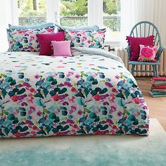 Add a colour outlook with the Bluebellgray Petals bed linen. The duvet cover combines a striking design with signature Bluebellgray watercolour marks. Floral Bedding, Linen Bedding, Blue Bedding, Comforter, Eat Sleep Live, Nautical Shower Curtains, Bluebellgray, Bedroom Colors, Bedroom Ideas