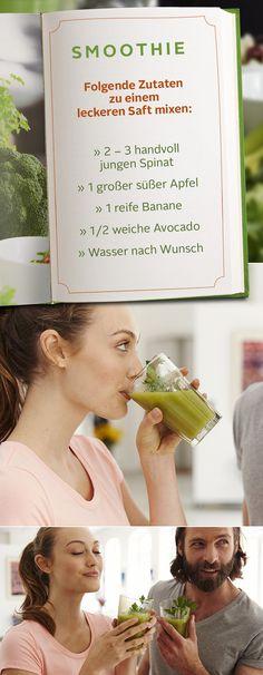 """Rezept-Tipp: Grüner Smoothie. Für unser kleines Einsteiger-Rezept in die leckere Welt der grünen Smoothies benötigt ihr 2 bis 3 Handvoll jungen Spinat, 1 großen süßen Apfel, 1 reife Banane,  ½ weiche Avocado und Wasser nach Wunsch. Alles gut mixen und frisch genießen – das schmeckt, stärkt die Abwehrkräfte und hilft dabei, die guten Vorsätze umzusetzen. Mehr Smoothie-Rezepte findet ihr in dem Buch """"Wilde grüne Smoothies"""". Lasst es euch schmecken!"""