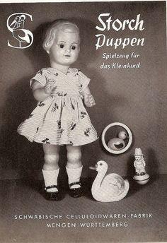 1958 Storch Puppen in Mengen gemacht, meine Tante Anna und Tante Marie haben da geschafft und ich habe von da eine Puppe German Toys, Toy Catalogs, Old Dolls, Antique Toys, Vintage Dolls, Kids Playing, Vintage Posters, Little Girls, Childhood