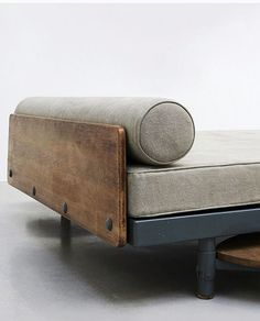 Antony daybed with pivoting table designed by Jean Prouvé and Charlotte Perriand. Furniture Logo, Design Furniture, Ikea Furniture, Colorful Furniture, Plywood Furniture, Furniture Plans, Rustic Furniture, Furniture Decor, Luxury Furniture