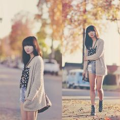 Casual Fridays! #fashion Short Jeans, Casual Fridays, International Style, Minkpink, Cardigan Fashion, Simple Outfits, Daisy, Forever 21, Cozy