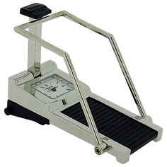 Miniature Treadmill Novelty Quartz Movement Collectors Clock - Silver Tone 9719 Treadmill, Quartz, Miniatures, Clock, Watches, Silver, Watch, Money, Running Belt