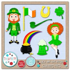 Top o' the mornin' to ya!  This adorable Luck of the Irish Cutting Files Set is perfect for all of your St. Patrick's Day Projects.  Great for scrapbooking, card making, invitations, party decor, educational use, and more!