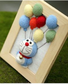 Doraemon with balloons Wool Felting wood frame by AnnetteLounge