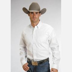 Men's Stetson White End on End Button Up