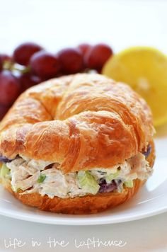 Love these chicken salad croissant sandwiches! Great for lunch on the beach, at a baby/bridal shower, tea party, or just a meal at home! Chicken Salad Croissant Sandwiches 6 c. Croissant Sandwich, Chicken Salad Croissant, Soup And Sandwich, Chicken Salad Recipes, Chicken Salads, Chicken Salad Sandwiches, Croissant Bread, Rotisserie Chicken Salad, Croissant Recipe