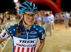 Katie Compton (born December 3, 1978) is an American bicycle racer. She specializes in cyclo-cross racing. Compton formerly piloted a tandem with a blind partner in Paralympic events.  She has won the USA Cycling Cyclocross National Championships Elite Women's title every season from 2004 to 2017. In 2007, she became the first American woman to podium in the Cyclo-cross World Championships where she won silver.