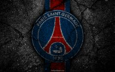 Download wallpapers PSG, logo, Paris Saint-Germain, art, Liga 1, soccer, football club, Ligue 1, grunge, PSG FC