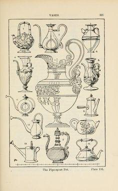 A handbook of ornament; vases the pipe-spout pot pg 335 Vintage Drawing, Vintage Art, Fabric Painting, Painting Prints, Art Print, Antique Illustration, Ornaments Design, Historical Architecture, Art Inspo