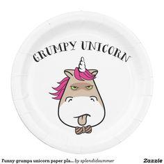 Funny grumpa unicorn paper plate  sc 1 st  Pinterest & Shark Attack Birthday at the Beach Funny Paper Plate   Shark attacks