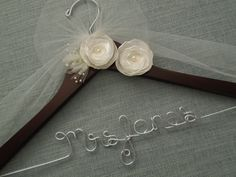 Personalized Wedding Hanger IVORY Flowers Brides by DivineDays, $28.00