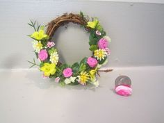 "OOAK Miniature dollhouse handcrafted Wreath/2 3/4""w grapevine/floral yellow/pink"