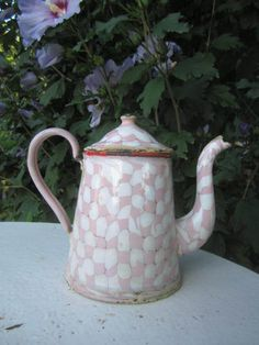 Rare PETITE SIZE PINK DROOPY CHECK COFFEE POT Old FRENCH Enamelware Graniteware
