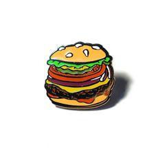The Studio JFISH Burger Lapel Pin by StudioJFISH on Etsy