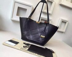 Burberry The Small Canter In Bonded Leather Tote In Black