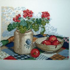 Completed Cross Stitch Country Still Life Sandi Gore Evans Delft Crock Geraniums