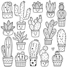 Set of cactus plant in kawaii doodle style vector line art Cute Doodle Art, Doodle Art Drawing, Drawing Sketches, Drawing Ideas, Drawing Base, Doodle Doodle, Doodle Art Letters, Doodle Kids, Doodle Baby