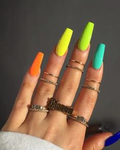 Cute Acrylic Nails 283445370285099797 - Nails neon Source by alanorp Neon Acrylic Nails, Neon Nails, Dope Nails, Pink Nails, Bright Nails Neon, Neon Nail Art, Pastel Nails, Neon Green Nails, Multicolored Nails