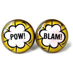 Yellow Comic Book Word Bubble Pop Art Stud Earrings, Nerdy Cosplay... ($10) ❤ liked on Polyvore featuring jewelry, earrings, comic earrings, cartoon earrings, yellow stud earrings, gothic jewelry and gothic jewellery