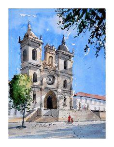 Mosteiro de Alcobaça- Portugal Notre Dame, Building, Travel, Water Colors, Frames, Pintura, Art, Viajes, Buildings