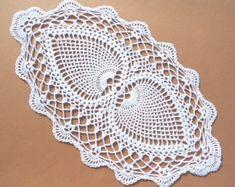 Handmade crochet doily color - purple 100 - cotton size - 21 x 8  ( 54 cm. x 20 cm . )