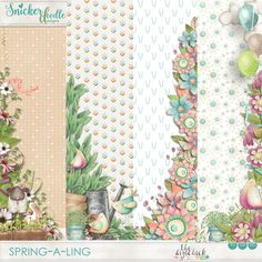 Spring-a-Ling Borders to help create your digital scrapbooking pages