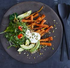 "Carrot and Avocado Salad With Crunchy Seeds. Well's Vegetarian Thanksgiving. New York Times.""The creaminess of avocado and sour cream is amazing with the spiced zing of the carrots and the toasted, nutty seeds. Summer Salad Recipes, Healthy Salad Recipes, Summer Salads, Vegetarian Recipes, Diet Recipes, Healthy Summer, Lunch Recipes, Healthy Menu, Healthy Eating"