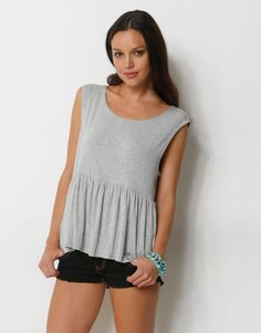 GATHERED WAIST LOOSE FIT TOP - SCOOP NECK LOOSE FIT TOP WITH GATHERED WAIST - Plain Fashion Tops
