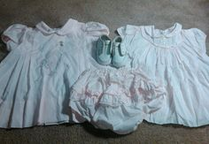 Lot of 2 Vintage Baby Girl Dresses pink with rubber pants Gerber shoes