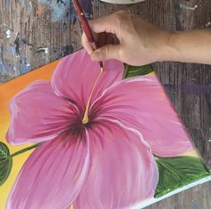 Easy Simply Tropical Hibiscus Painting - Step By Step Acrylic Tutorial Tropical Paintings, Brush Drawing, Acrylic Tutorials, Capsule Wardrobe Work, Apple Barrel, Titanium White, Happy Paintings, Online Tutorials, Small Leaf
