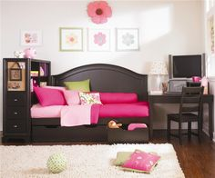 Midtown Twin Size Contemporary Youth Daybed with Underbed Storage, Built-in Bookshelf and Desk Area by Lea Industries - Wolf Furniture - Daybed Pennsylvania, Maryland. I just wish it was in antique white