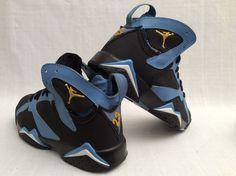 304775-411 MEN'S NIKE AIR JORDAN 7 VII RETRO SIZE 8 BLACK BLUE YELLOW #JORDAN #BasketballShoes